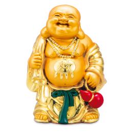 【財宝満堂】金色で朗らかな笑顔、布袋様の置物です。祝福の金運ご利益を!2021年8月31日(火)迄。